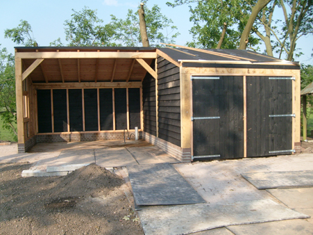 Garage Met Overkapping : Hout beton schutting garage overkapping